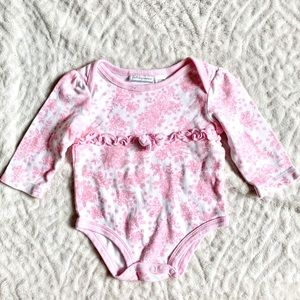 FIRST IMPRESSIONS Pink Floral One Piece Bodysuit